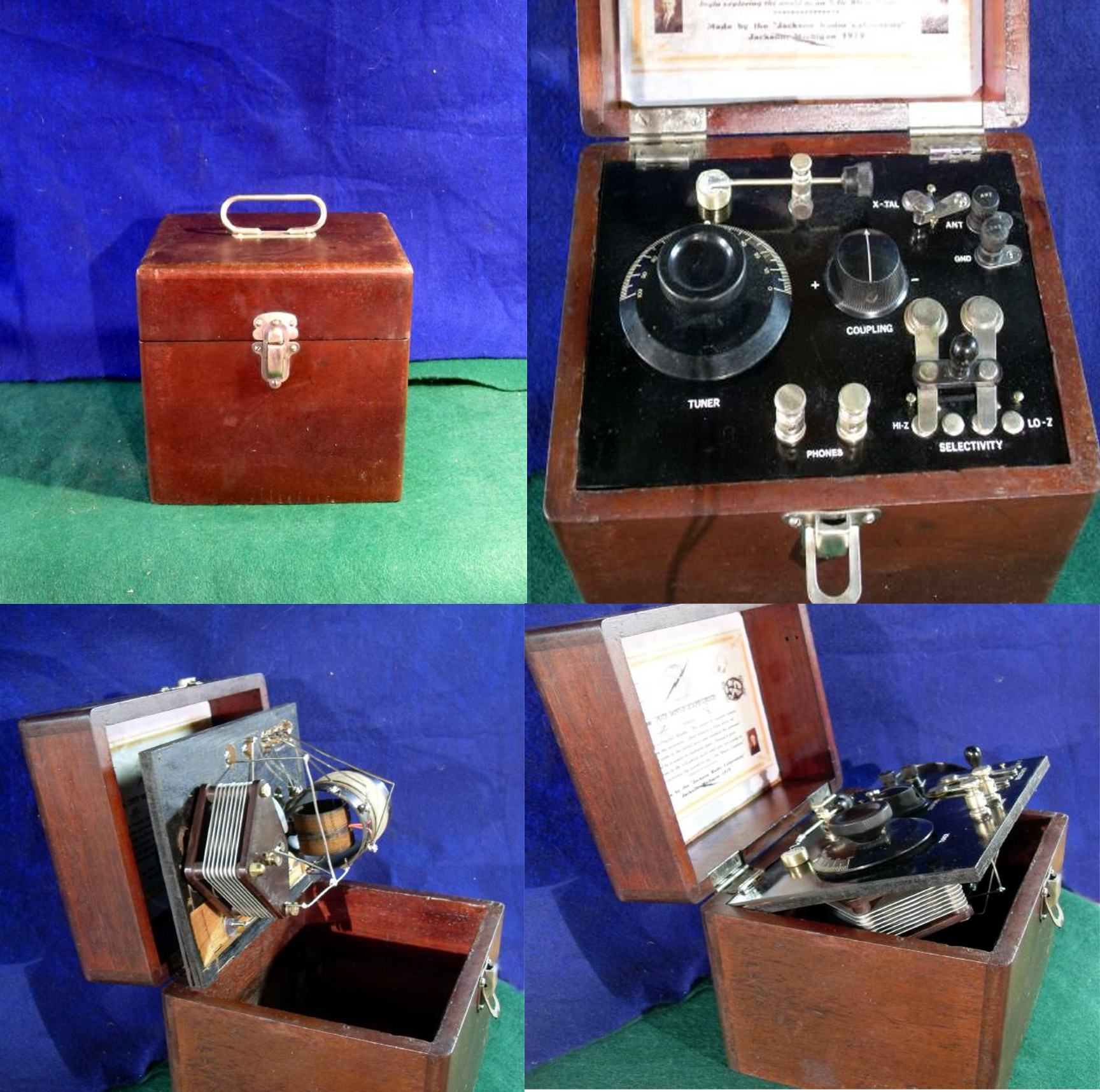 Beautiful ca.1919 Excellent working crystal radio. Variable link coupling. Panel hinges up to inspect the buss wiring and circuit components. SOLD--SOLD.)!